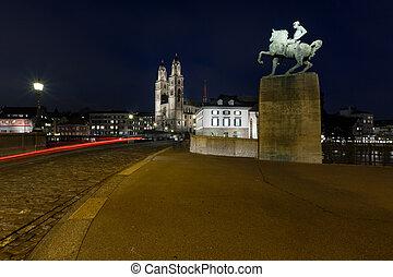 View on Grossmunster Church and Munsterbrucke Bridge in the Evening, Zurich, Switzerland