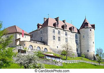 View on Gruyeres castle, Switzerland