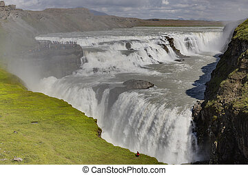 View on Gullfoss waterfall in southern Iceland