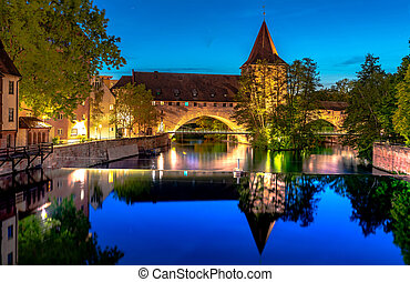 View on historic Architecture and the river Pegnitz in Nuremberg, Germany.