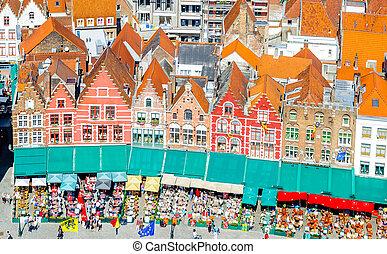 Historical buildings on Market Square in Belgium