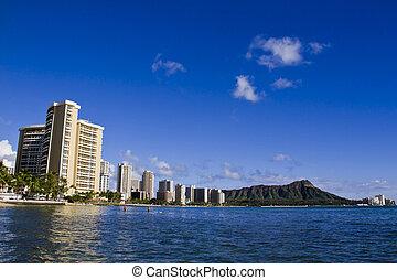 View on Honolulu city, Waikiki Beach, Hawaii