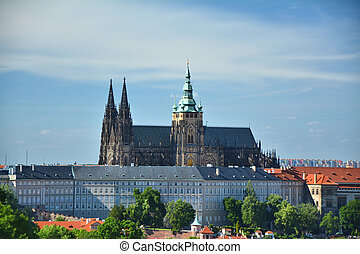 View on Hradcany castle and catherdal in Prague, Czech Republic.