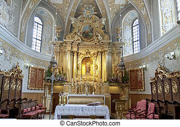 View on interior of sanctuary church in Lesniow - Poland, Silesia.