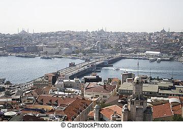 View on Istanbul and Galata bridge
