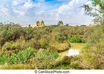 view on St.John church near baptism site in Jordan river Valley. Autumn sunny day in Jordan.