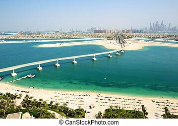 View on Jumeirah Palm man-made island, Dubai, UAE