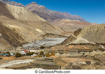View on Kagbeni village located in the valley of the Kali Gandaki River