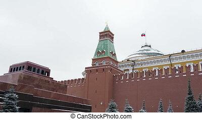 View on Kremlin Senate, Senate tower and Lenin's Mausoleum...