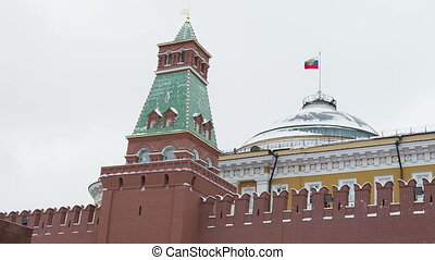 View on Kremlin Senate, Senate tower on Red Square. Moscow,...