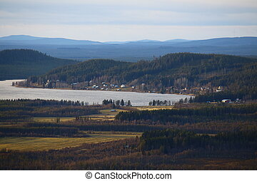 View on lake Jarvtrasket in Norrbotten in Sweden.