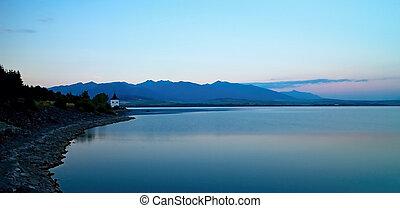 View on level water in dam Liptovska Mara with the...