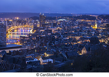 View on Liege in Belgium - Panorama of the city of Liege in ...