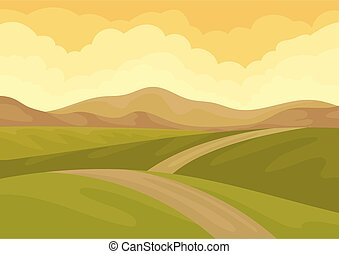 View on long ground road, green meadows and brown hills. Beautiful natural landscape. Flat vector design