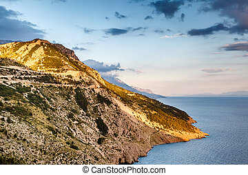 View on Makarska Riviera Coast in the Evening, Croatia