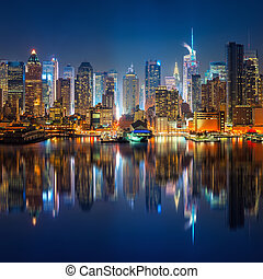 View on Manhattan and times square at night