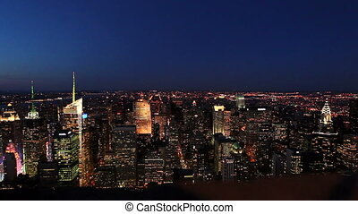 view on manhattan, new york city, from top of building at...