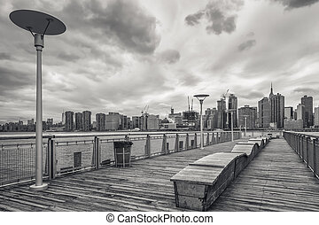 View on Manhattan skyline over the East River - Monochrome...