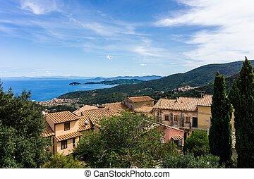 View on Marciana Marina bay from Marciana Alta village
