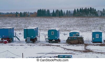View on mobile houses of drilling crew - View on coach...