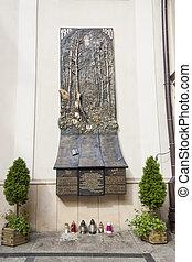 View on monument of Smolensk plane crash - wall in Jasna Gora Sanctuary, Czestochowa, Poland.
