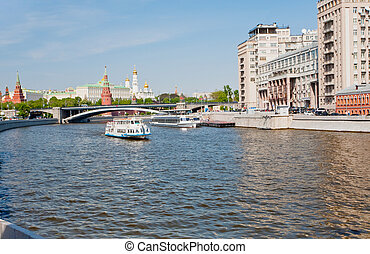 view on Moscow river and Kremlin