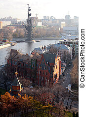 View on Moscow with river and monument to Peter the Great