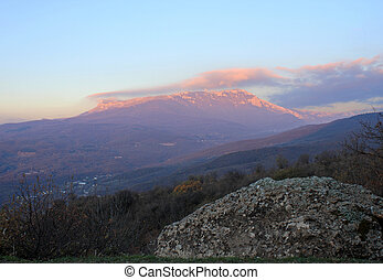 view on mountain at sunrise