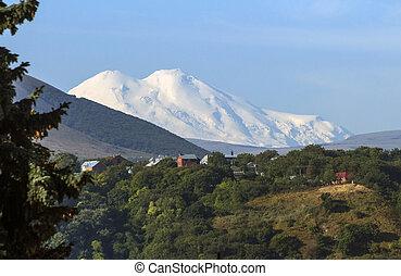 View On Mountain Elbrus of Pyatigorsk city, Northern Caucasus, Russia.