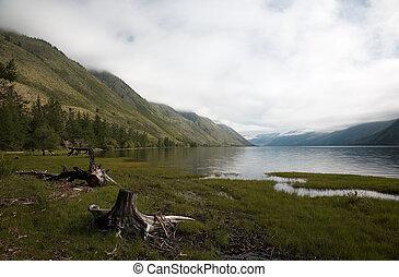 View on mountain Lake - View on Siberian Lake Kara-Hol