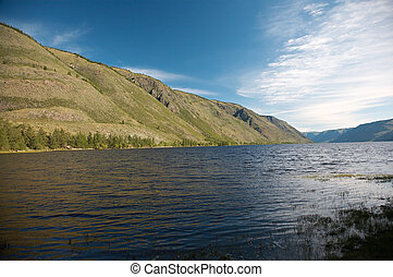 View on mountain Lake - View on Siberian mountain Lake Kara-...