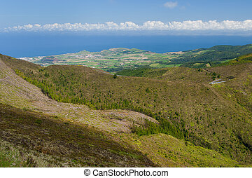 view on mountains in Azores