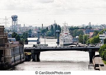 View on museum of World Ocean in Kaliningrad - Sea ship in...