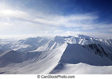 View on off-piste slope. Caucasus Mountains, Georgia, ski...