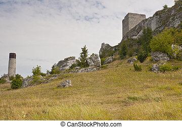 View on old castle in the Jura region.