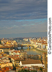 View on on Ponte Veccio in Florence from above
