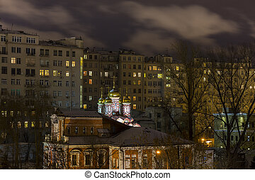 View on orthodox church at old courtyard in the center of Moscow