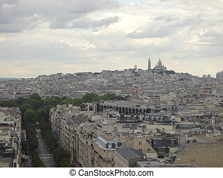 View on Paris from Arc de Triomphe. Avenue Champs elysees in front.