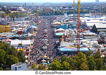 View on park of attractions on Octoberfast - View on park of...