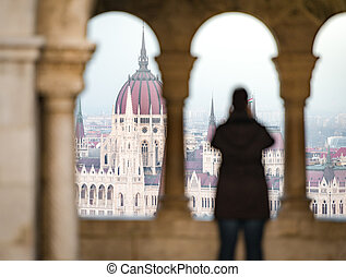 View on parliament building in Budapest, Hungary.