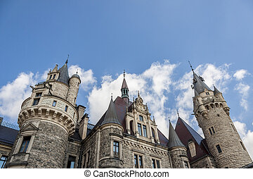 View on part of Moszna Castle - Poland, Europe.