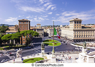 View on Piazza Venezia from the Vittoriano in Rome