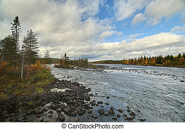 View on Pite river at Ljusselforsen in Lapland.