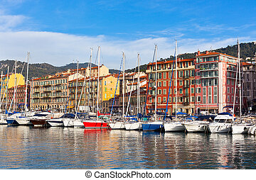 View on Port of Nice, French Riviera, France