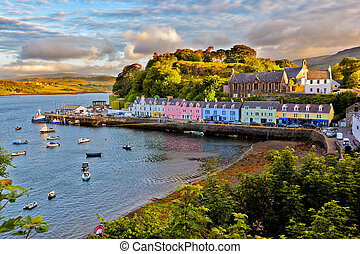 view on Portree, Isle of Skye, Scotland - view on Portree...