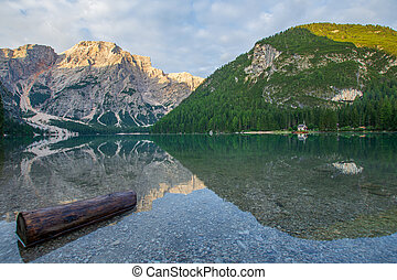 View on Pragser Wildsee with wooden trunk in the water