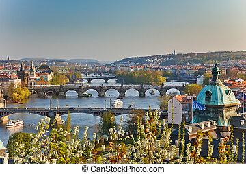 View on Prague at sunset