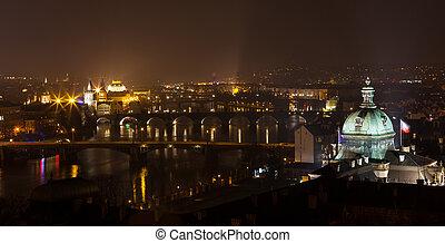 View on Prague bridges and Vltava river at night
