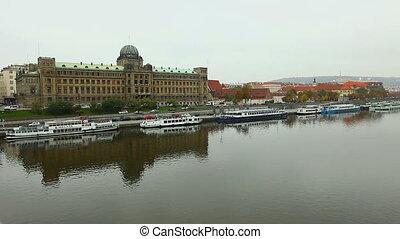 View on Prague from bridge over Vltava river