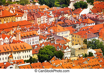 View on red roofs with tile in Prague